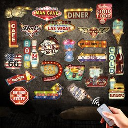Wholesale Vintage Beer Neon Signs - Wholesale- Hot New Remote Controller LED Neon Signs For Beer Bar Cafe Garage Kitchen Vintage Home Decor Wall Painting Light Metal Plaque