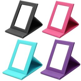 Wholesale Frames Using - Tabletop Vanity Makeup Mirror Portable Folding Mirrors With PU Leather Standing Case Colorful Cosmetics Multi-used Tool Large
