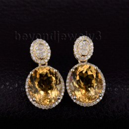 Wholesale Cheap Yellow Gold Earrings - Oval 10x12mm Natural Citrine Drop Earrings In Solid 14Kt Yellow Gold Fashion Trendy Earrings WE056B Cheap gold nh