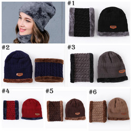 Wholesale Thick Scarves For Women - Warm Cap Thick Winter Hat for Women Men Fashion Skullies Beanies Wool Hat Cap Beanie Knitted Caps Neck Warmer Warm Hat YYA759