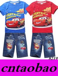 Wholesale Boys Denim Short Sets - New Fashion 2016 Summer kids clothes Tracksuit Cars Children t-shirt + Denim Shorts for Boys Casual Cotton Suit Boy Clothing Set