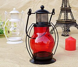 wholesale iron candle holder Coupons - NO Candle Zakka Iron Candlestick Candle Holder Kerosene alcohol lamps Holiday gift Home decoration