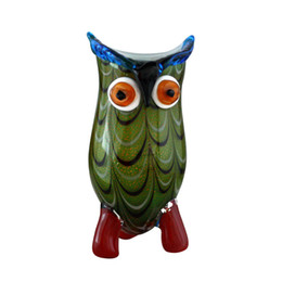 Wholesale Abstract Vases - Owl Glass Vase High Quality Murano Glass Owl Abstract Arts Auspicious Creative Glass Vase Top Collectale gift