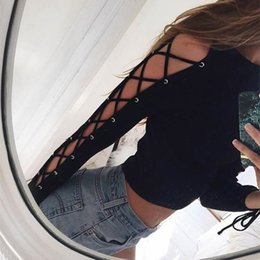 Wholesale T Shirt Sexy Femme - 2016100901 Autumn Women T-shirts Hollow Out Long Sleeve O-Neck Blusas Short Style Sexy Women Blouse Lace Up Femme Tops Tees