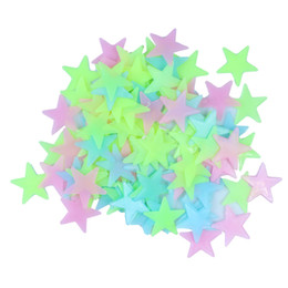Wholesale Wall Sticker Light - Glow Wall Stickers 100pcs Decal Baby Kids Bedroom Home Decor Color Stars Luminous Fluorescent 3 clors
