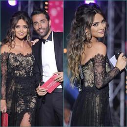 Wholesale Pink Off Shoulder Celebrity Dress - 2016 Vestidos De Festa Black Lace Sexy Celebrity Prom Dresses Bateau Sheer Long Sleeves Arabic Formal Evening Gowns Side Slit