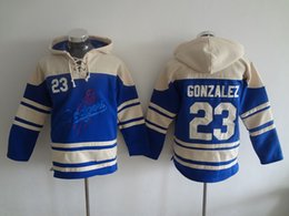 Wholesale Blue Logo Sweater - Los Angeles Dodgers Mens Sweaters #23 Adrian Gonzalez Blue Baseball Jersey Hoodies Size M-3XL Fast Shipping Embroidery Logos 2906