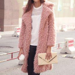 Wholesale Winter Furry Jacket - Wholesale- Fashion Autumn Lambswool Full Sleeved Jacket Long Furry Coat Winter Overcoat