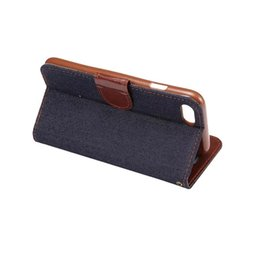 Wholesale blue jean wallet - Jean PU leather Case for iphone 7 plus with Card Slot Holder Flip Wallet Cover for Samsung GALAXY Note 7 50 PCS UP