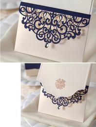 Cartões elegantes para o casamento on-line-Praia branca Elegante Oco Convites de Casamento Cartões Artesanais Suprimentos Convites De Noiva