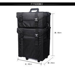 Wholesale Draw Bar Box Travelling Bag - 2 stands make up box luggage carrier nylon storage box with makeup bag trolley case draw-bar box for professional lady makeup use