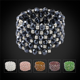 Wholesale African Traditional Beads Jewelry - U7 Green Pink Black Crystal Beads Multi-layer Bracelet Bangles For Women Jewelry Rhinestone Big Wrap Bracelet Perfect Accessories H1507
