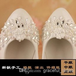 Wholesale Lace Wedding Flats For Bride - Ivory Wedding Shoes Lace Applique Pearl Bridal Shoes 2014 Bridal Accessories Beaded Wedding Shoes Crystal Women Sandal Platforms For Bride