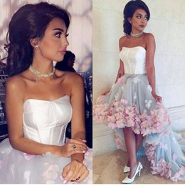 Wholesale Keyhole Strapless Prom Dresses - 2016 Hi-Lo Prom Dresses 3D Hand Made Flowers Strapless Sleeveless Ruffle Skirts Court Train with Belt Evening Gowns