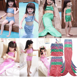 Wholesale Swim Wear 3t Girls - Girls Swim Wear Suit Kids Mermaid Tail Swimmable Bikini Set Swimwear Swimming Costume Swimsuit mermaid swimwear kids swimwear