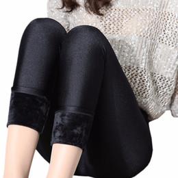 calças de veludo Desconto Atacado-Mulheres Leggings Preto Sexy Velvet Shining Leggings Inverno Quente de Veludo Grosso Legging Senhora Meninas Alta Elastic Push Up Leggins Muje