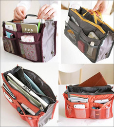 Wholesale Large Organizer Purse - Hot 14Colors Women Lady Travel makeup bag Insert Handbag Purse Large liner Tote Organizer Dual Storage Amazing make up bags