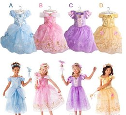 Wholesale Costume Children Cinderella - wholesale2016 New Girls Cinderella Dresses Children Snow White Princess Dresses Rapunzel Aurora Kids Party Costume Clothes Free Shipping