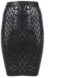 Wholesale Pencil Skirt Mini Dress - 2016 new women stretchy black foil bandage skirt women sexy elegant geometric pencil embossed mini short skirt drop shipping