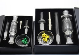 Wholesale White Dish Sets - DHL Free black white red Nectar collectors set 10mm 14mm 18mm Nectar Collectar Tips with Titanium nail Dabber Dish Glass water bong