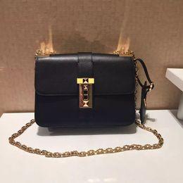 Wholesale D Handbags - high quality~w339 genuine leather stud shoulder chain handbag 23*17*8cm fashion women must have