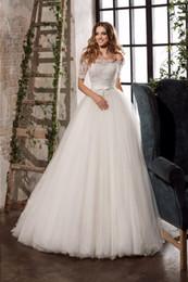 Wholesale floral tube dress - Vestido De Noiva Princesa Ivory White Lace Boob Tube Top Customized A line Half Sleeves Weding Gown Design HTN6 Dress Weeding