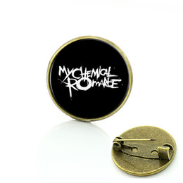 Wholesale Romance Brooch - 2017 Fashion badge Jewelry Rock Band My chemical romance brooch Slipknot Linkin park music band pins gift for men and women C465