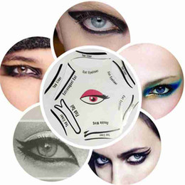 Wholesale eye stencils - DHL shipping 6 In 1 Multifunction Eye Stencil Cat Eyeliner Stencil For Eye Liner Template Card Fish Tail Double Wing Eyeliner Stencil