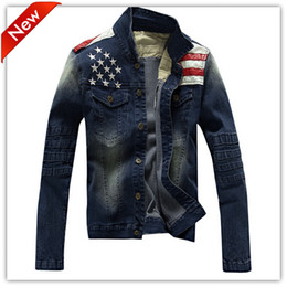 Wholesale Cow Boy Jackets - Fall-2016 Hot Fashion Jeans Men Denim Jacket Men's Preppy Style Tops Coat American Flag Cow Boy Man Jacket Male Clothes Free shipping
