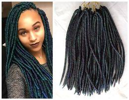 Wholesale Kanekalon Hair African - New Green Mix Color Ombre Fauxlocs Braid Crochet Twists Hair Extensions 18inches 3pcs lot Kanekalon Dread Locks African Braiding Hairstyle