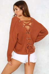 Wholesale Long Sleeve Cover Up - 2017081806 Spring autumn sexy backless lace up sweater fashion knitted sweater long sleeve pulloves mix colors