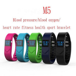 Wholesale Phone Tags - Health Wristwatch M5 Smart Watch Blood Pressure Blood Oxygen Fitness For Iphone Android Phones Sport Watch Heart Rate Monitoring 1pcs lot