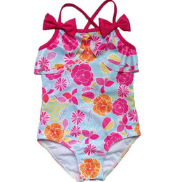 Wholesale Cute One Piece Swimsuit Bow - One-piece Spring Summer Cute Girls Princess Flower Beach Swimsuit Baby Kids bow Swimming Swimwear Children Fashion Girl Swim Bikini BH2123