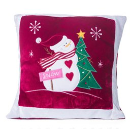 Wholesale Thick Sofa Cushion - Hot Sale Free Shipping 1pcs 35*35cm Plush Pillow Snowman Pattern Pillow Square Cushion Home Decor Christmas Decor Sofa Throw Pillow