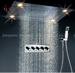 Wholesale Color Changing Overhead Shower - led shower head bathroom shower, recessed Ceiling Mount overhead shower,color change rainfall waterfall electric led shower head