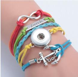 Wholesale Infinity Faith Jewelry - New Arrival Interchangeable Chunky Snap Jewelry DIY Noosa Chunky Infinity Faith Anchor Snap Bracelet Bangle Wholesale Jewelry