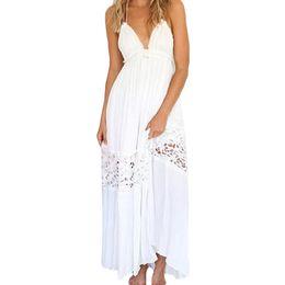 Wholesale Lace Sundress Spaghetti Strap - S5Q Women's Sexy Summer Long Maxi Evening Party Dresses Backless Beach Sundress AAAFZL