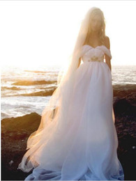 Deusa grega vestidos de noiva on-line-Estilo do verão sem encosto vestidos de noiva de praia que flui elegante vestidos de noiva boho a linha do vintage vestidos de noiva deusa grega