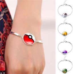 Wholesale Steel Time Jewelry - Pokeball Glass Cabochon Silver Bangles Bracelets Jewellry Pocket Monster Game Poke Halder Vintage Retro Time Gemstone Accessories Jewelry