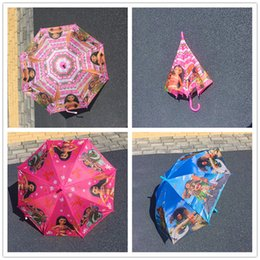 Wholesale Rain Gear Boys - Children Cartoon Umbrellas Multicolor Moana Umbrellas Half-Automatic Long-handle Rain Gear Sun Proof Umbrella for Boys Girls Birthday Gifts