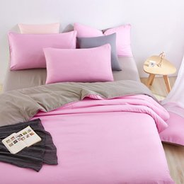 Wholesale King Grey Bedding Sets - Wholesale- Good Quality Home Bedding Sets Pink Duver Quilt Cover Grey Bed Sheet Pillowcase Soft and Comfortable King Queen Full Twin