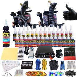 Wholesale Tattoo Kits 25 - SolongTattoo New Beginner 2 Pro Machine Guns Tattoo Kit Power Supply Needle Grips tip 28 color ink set TK204-25