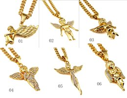 Wholesale White Girls Rock - Wholesale price Hip hop 18k Real gold Plated Rock Rapper Nightclub girl boy Wings Angel cz crystal shape Pendants chain Necklaces jewelry