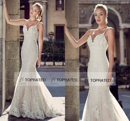 Wholesale eddy k - 2016 Eddy K Full Lace Backless Mermaid Wedding Dresses Sexy Sweetheart Spaghetti Straps Beaded Applique 2017 New Summer Vintage Bridal Gowns