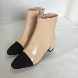 Wholesale Rubber Button Cap - high quality~u676 34 genuine leather silk cap toe med heel boots c luxury designer runway fashion brand beige black