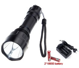 Wholesale Charger Torch - C8 Cree XM-L T6 LED 20000LM 5-Mode Flashlight Torch light bike light headlight + 2*18650 Rechargeable battery+Charger