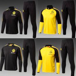 Wholesale Jersey Pant Kit - 2017 2018 Training suit kits tracksuit Dort soccer jersey long sleeve pants AUBAMEYANG GOTZE KAGAWA DEMBELE PULISIC REUS football SETS