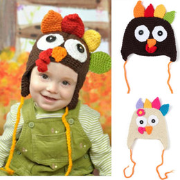 Wholesale Crochet Hats For Girls - Baby Crochet Hadmade Top Hat Baby Thanksgiving Day Gift Turkey Outfits Photography Props For Kid Girl