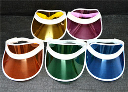 Wholesale Uv Peach - Plastic Visor Hat Party Accessory Unisex UV Protection Clear SunscreenTennis Travel Cap 50pcs lot Free Shipping