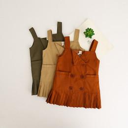 Wholesale Overall Dress Girl - Everweekend Baby Girls Ruffles Suspender Princess Kids Lovely Dress New Buttons Korean Children Overall Dress Wholesale
